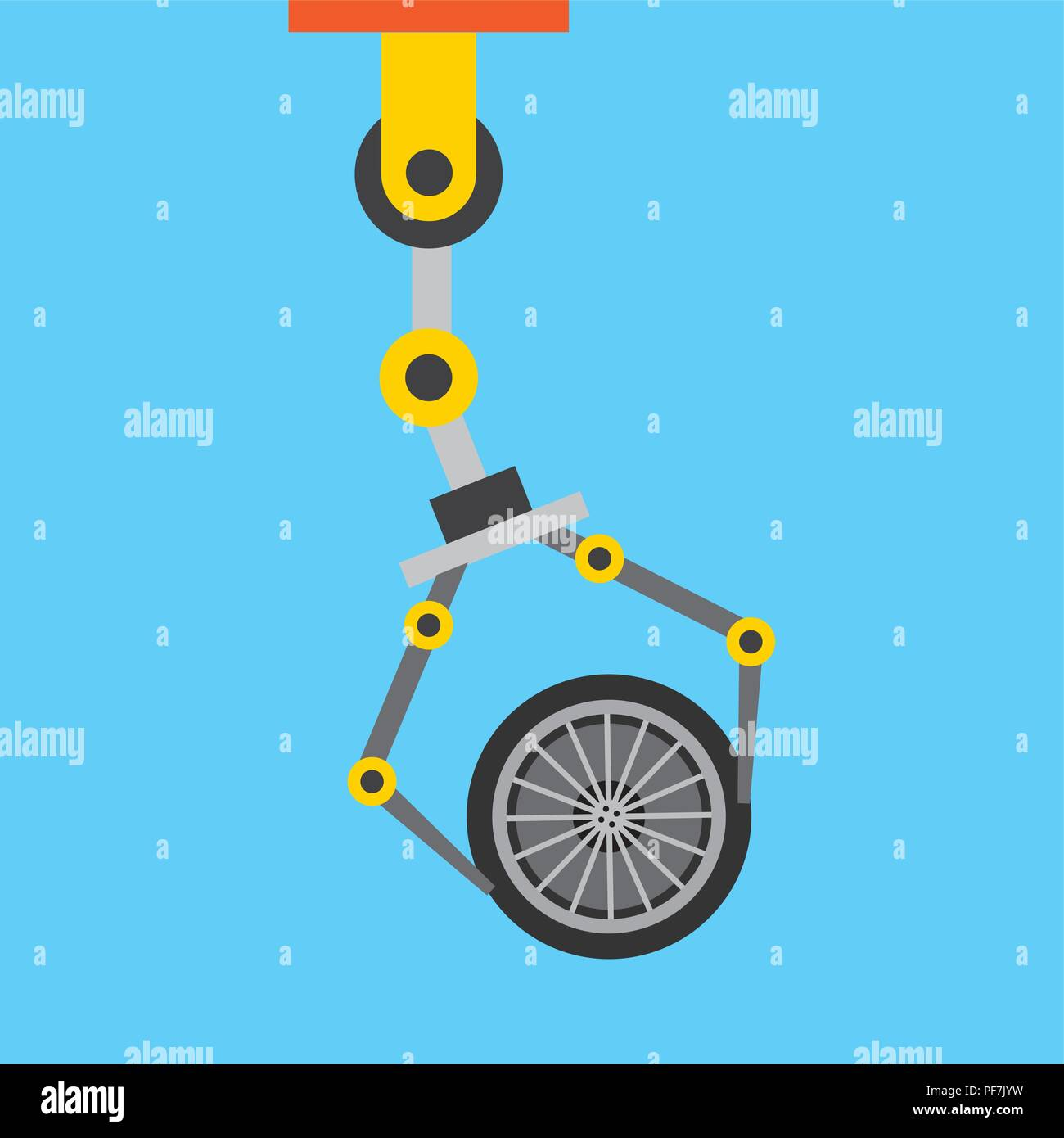 robot arm for automotive engineering with car wheel - Stock Image