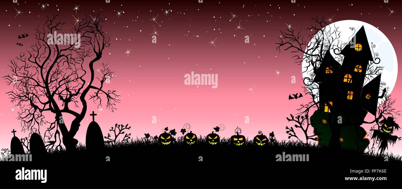 Night on Halloween. Pumpkins, castle, silhouettes of trees, grass, scarecrow, cemetery in the background of the moon and the starry sky. The dark pink - Stock Vector