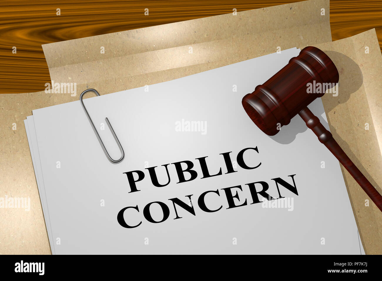3D illustration of PUBLIC CONCERN title on legal document - Stock Image