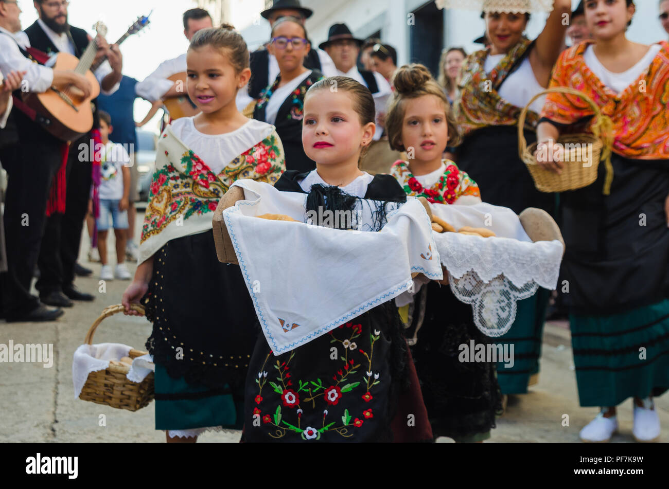 Santiago de Alcantara, SPAIN - 18 AUGUST 2018:Once a year the traditional festival 'La Frenda' is celebrated in the town of Santiago de Alcantara, Cac - Stock Image