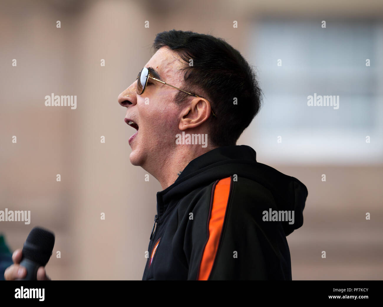 Marc Almond (OBE) performing on stage at the 2018 Chester Pride Festival. - Stock Image