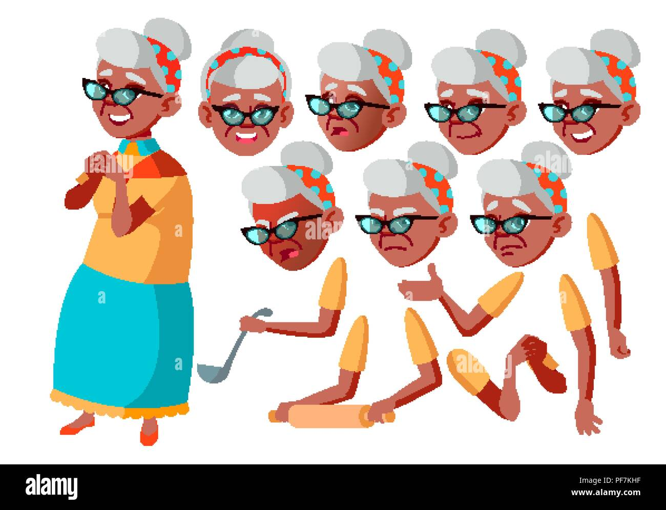 08ca46e4d5ed5 Old Woman Vector. Black. Afro American. Senior Person. Aged, Elderly  People. Face Emotions, Various Gestures. Animation Creation Set. Isolated  Flat Cartoon ...