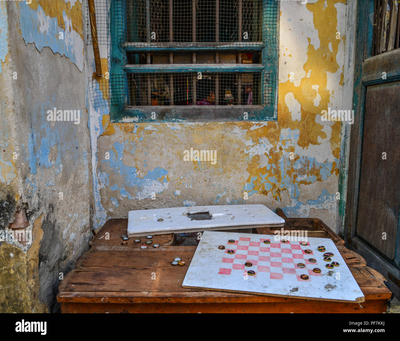 Yangon, Myanmar - Feb 1, 2017. Chessboards at old house in Yangon, Myanmar. Yangon is Myanmar largest city and its most important commercial centre. - Stock Image