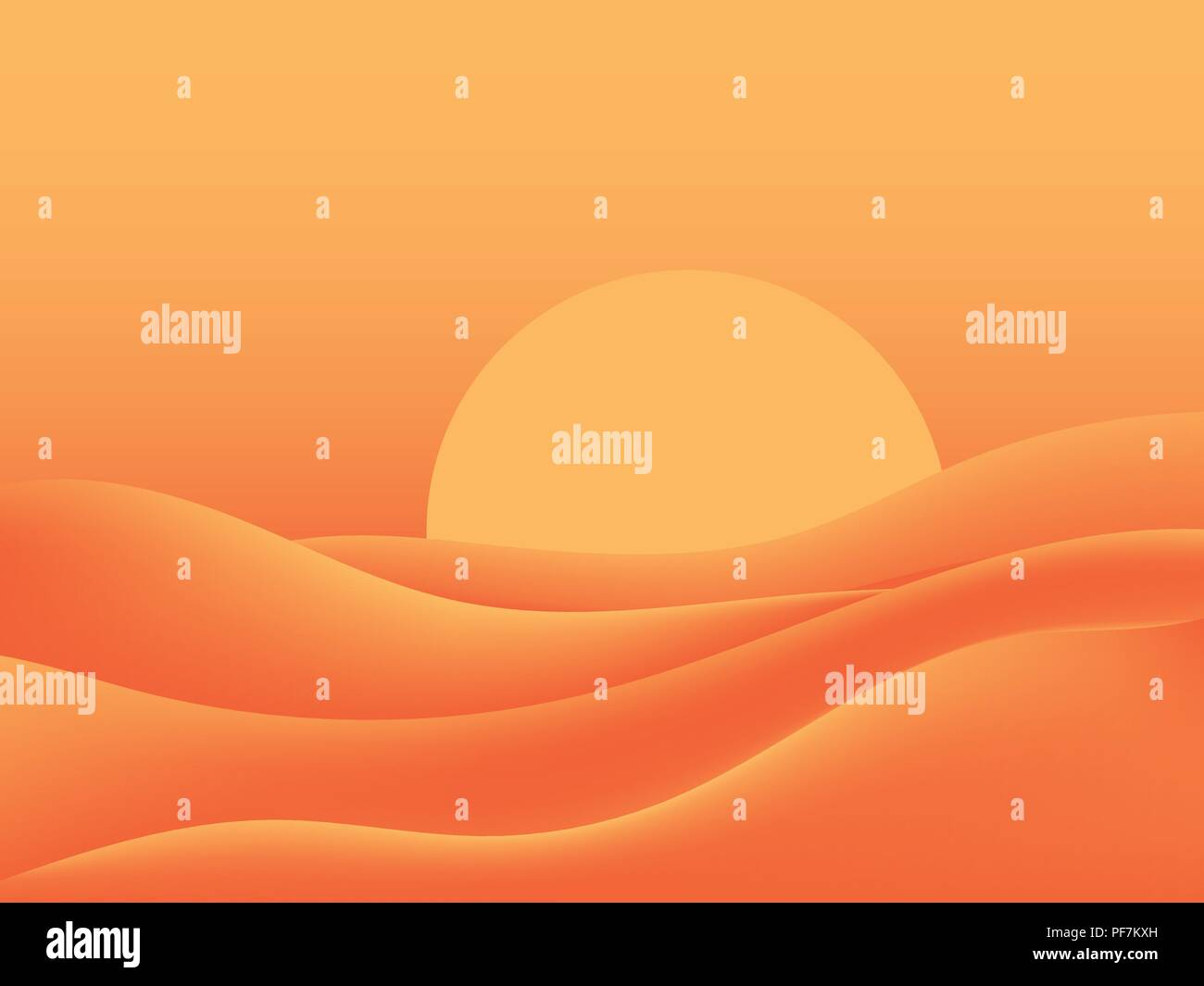 Hot desert, scorching sun. Landscape with sand dunes. Vector illustration - Stock Vector
