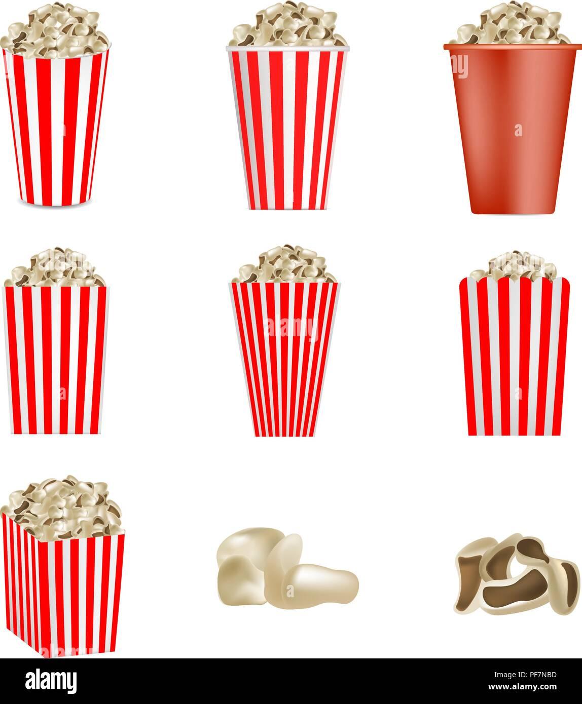 Popcorn cinema box mockup set, realistic style - Stock Image
