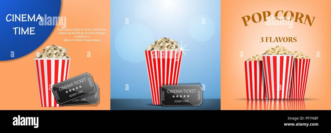 Popcorn cinema box banner set, realistic style - Stock Image