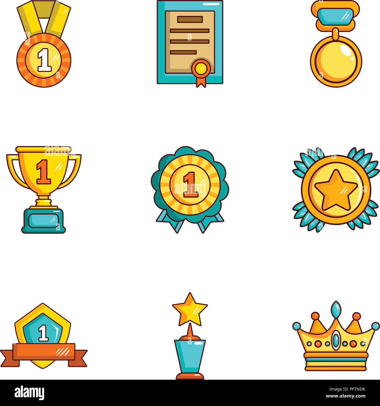 Offering of prize icons set, cartoon style - Stock Image