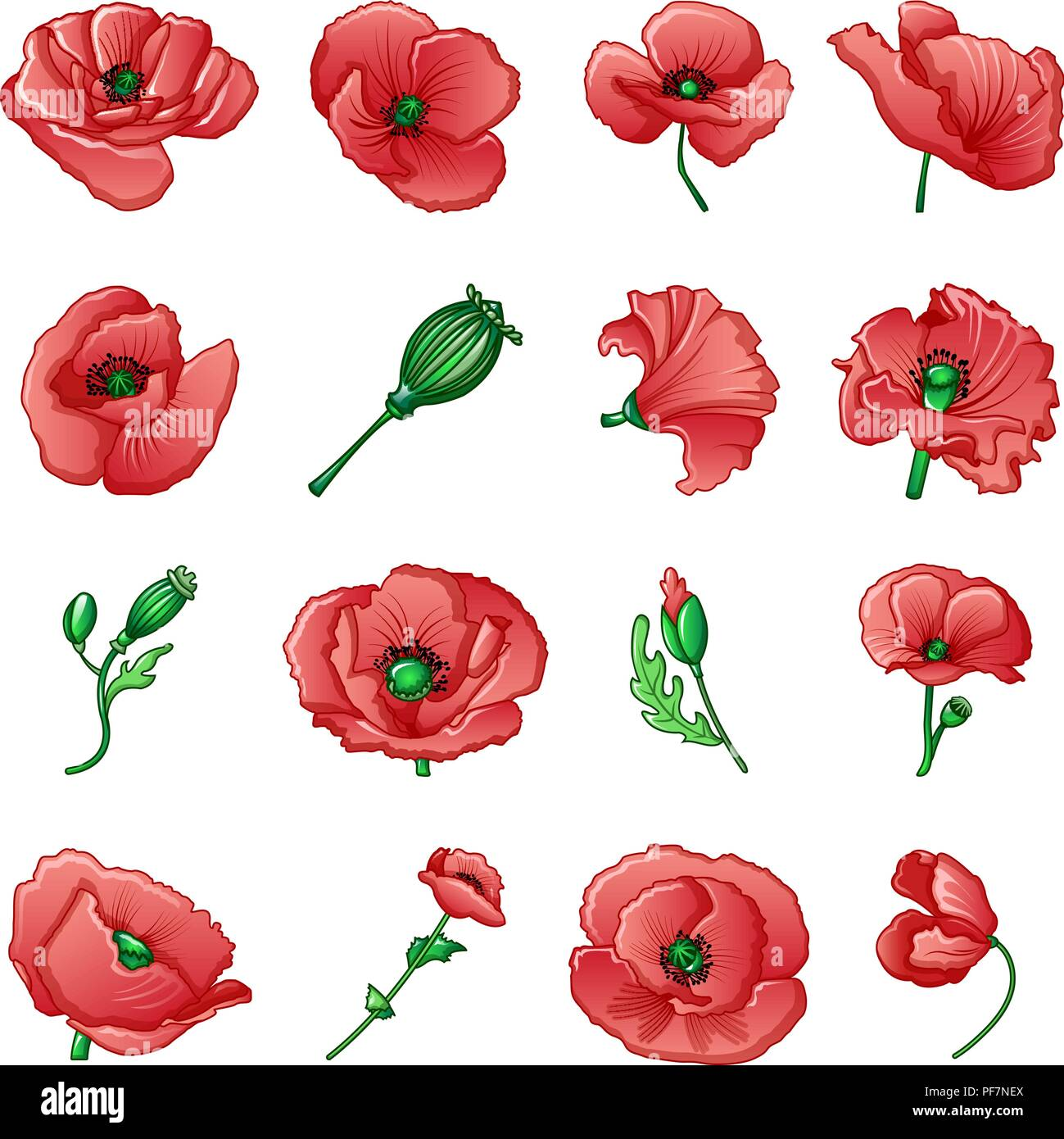 Poppy remembrance day icons set, cartoon style - Stock Vector