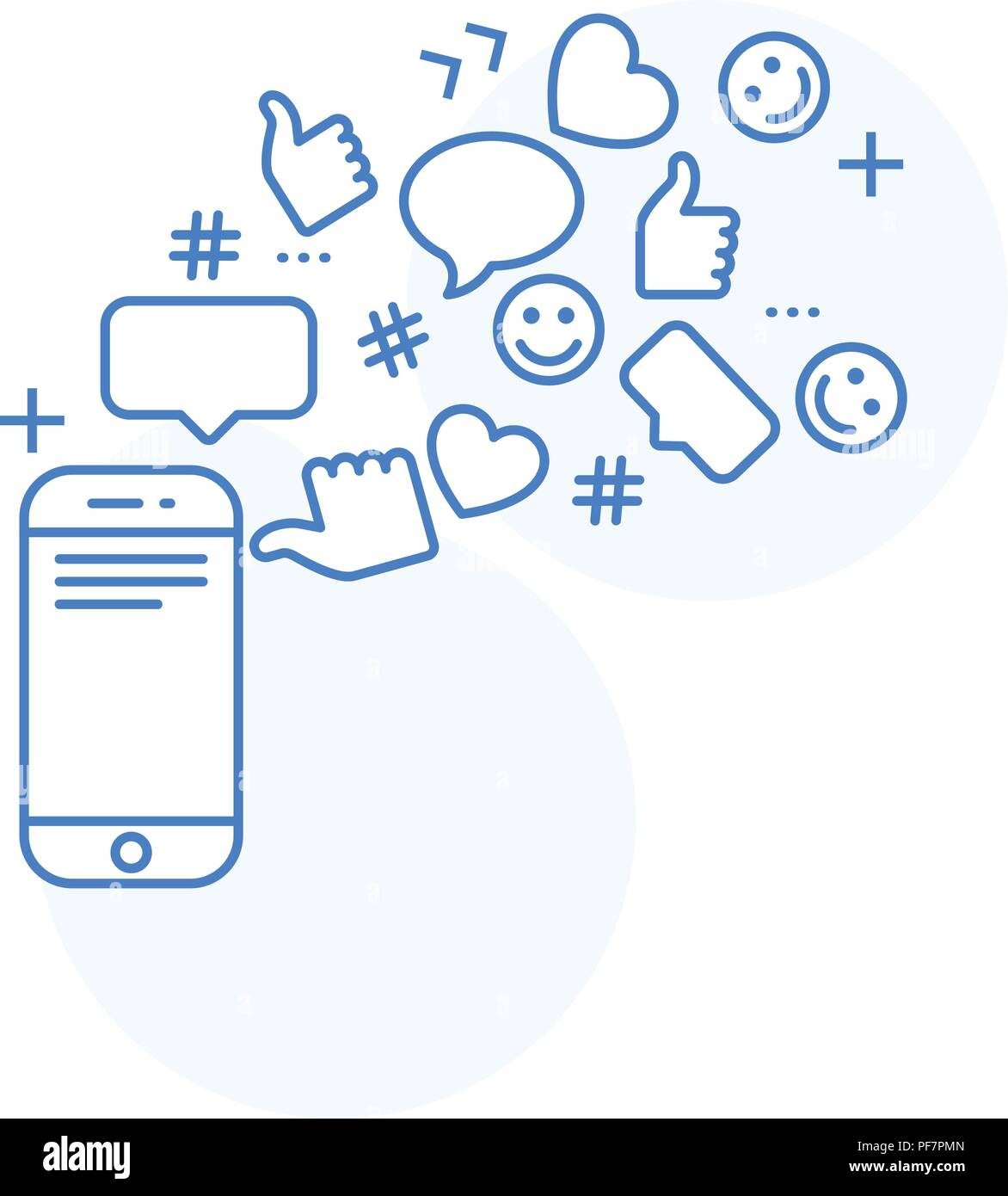 Viral content and smm concept - likes, shares and comments, online social activity - Stock Image