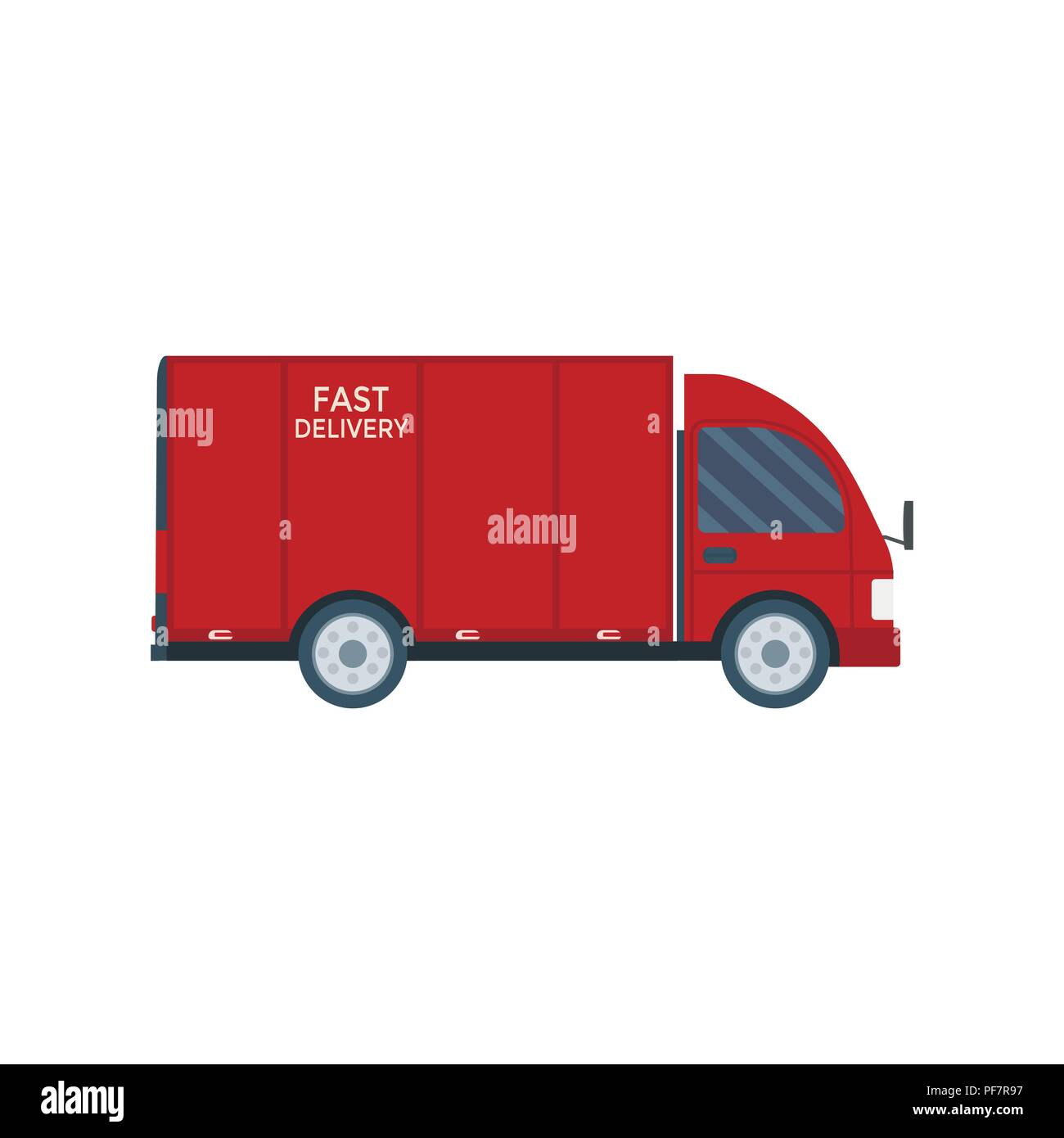 Logistics and delivery icon service isolated on white background: truck, lorry, van. Postal service creative design. Vector flat illustration. - Stock Image