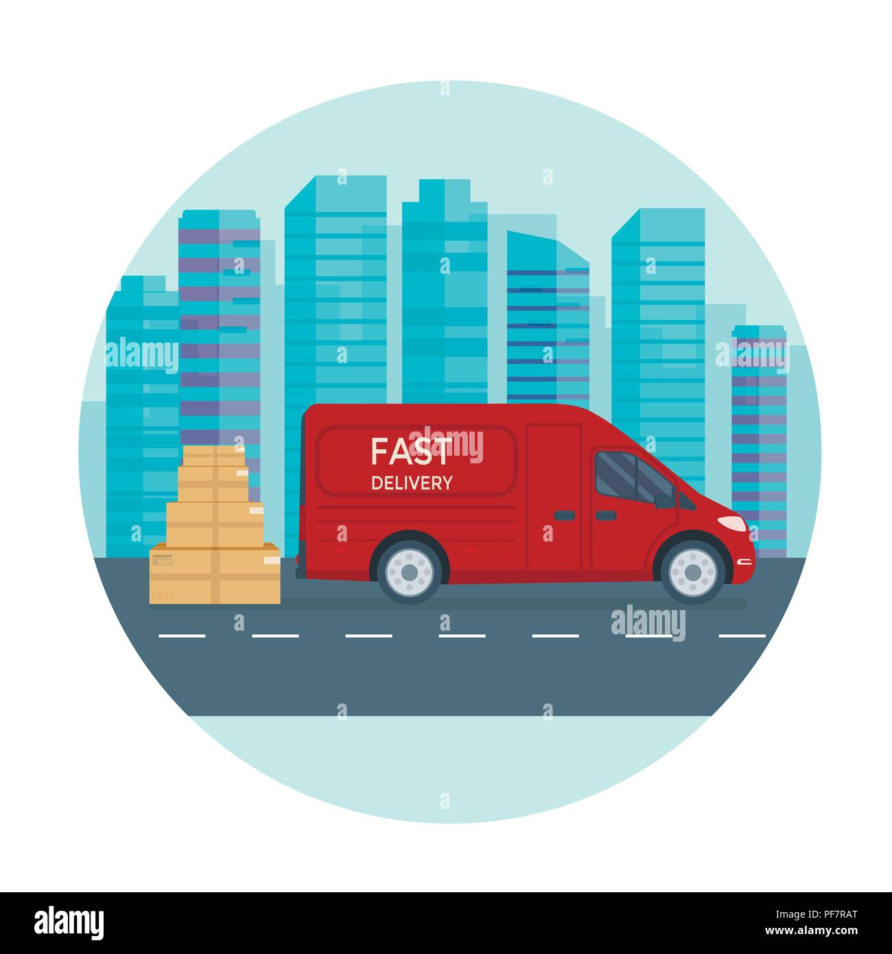 Logistics and delivery service concept: truck, lorry, van with store, shop and city background. Postal service creative banner design. Vector flat ill - Stock Image
