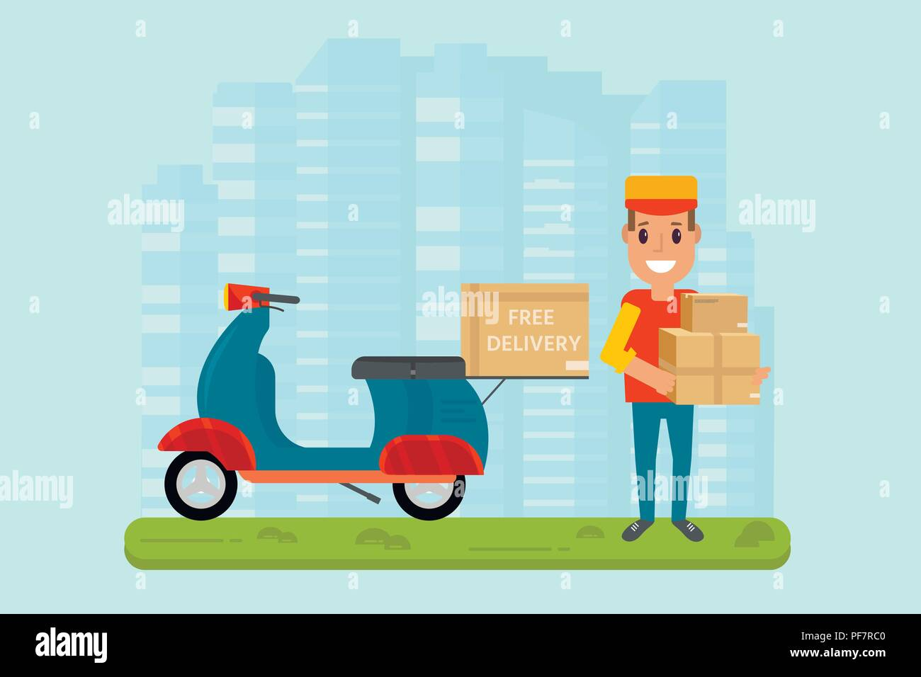 Logistics and delivery service concept: motorbike, smiling couriers with packages, scooter, building and city background. Postal horizontal banner des Stock Vector