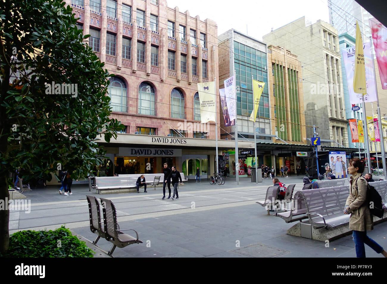 Bourke Street, Melbourne, in winter - Stock Image