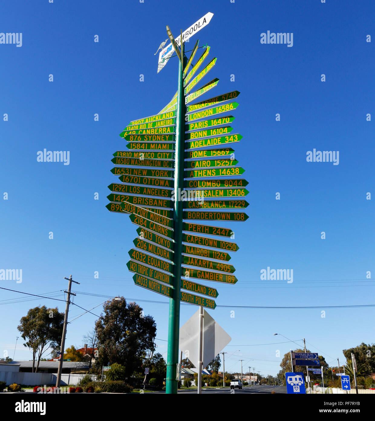 World direction sign - Dimboola - Australia - Stock Image