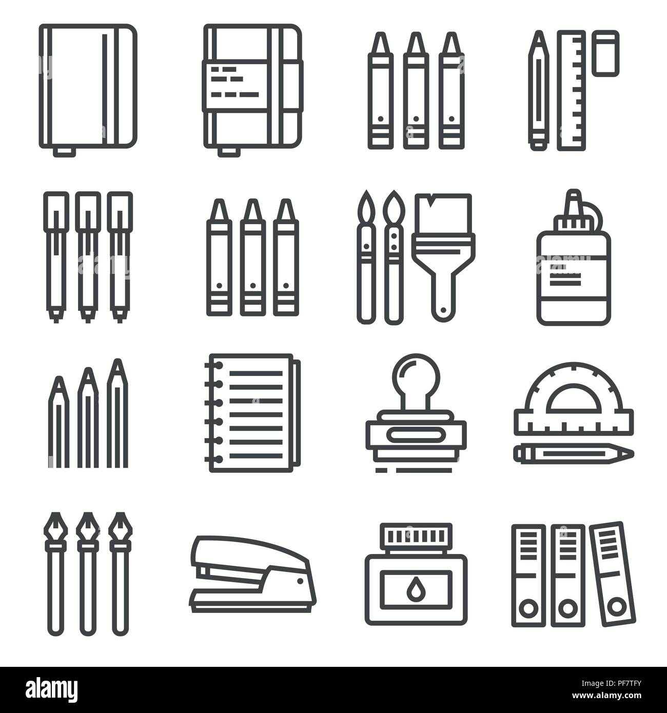 Vector Office things, thin line icons set. - Stock Image
