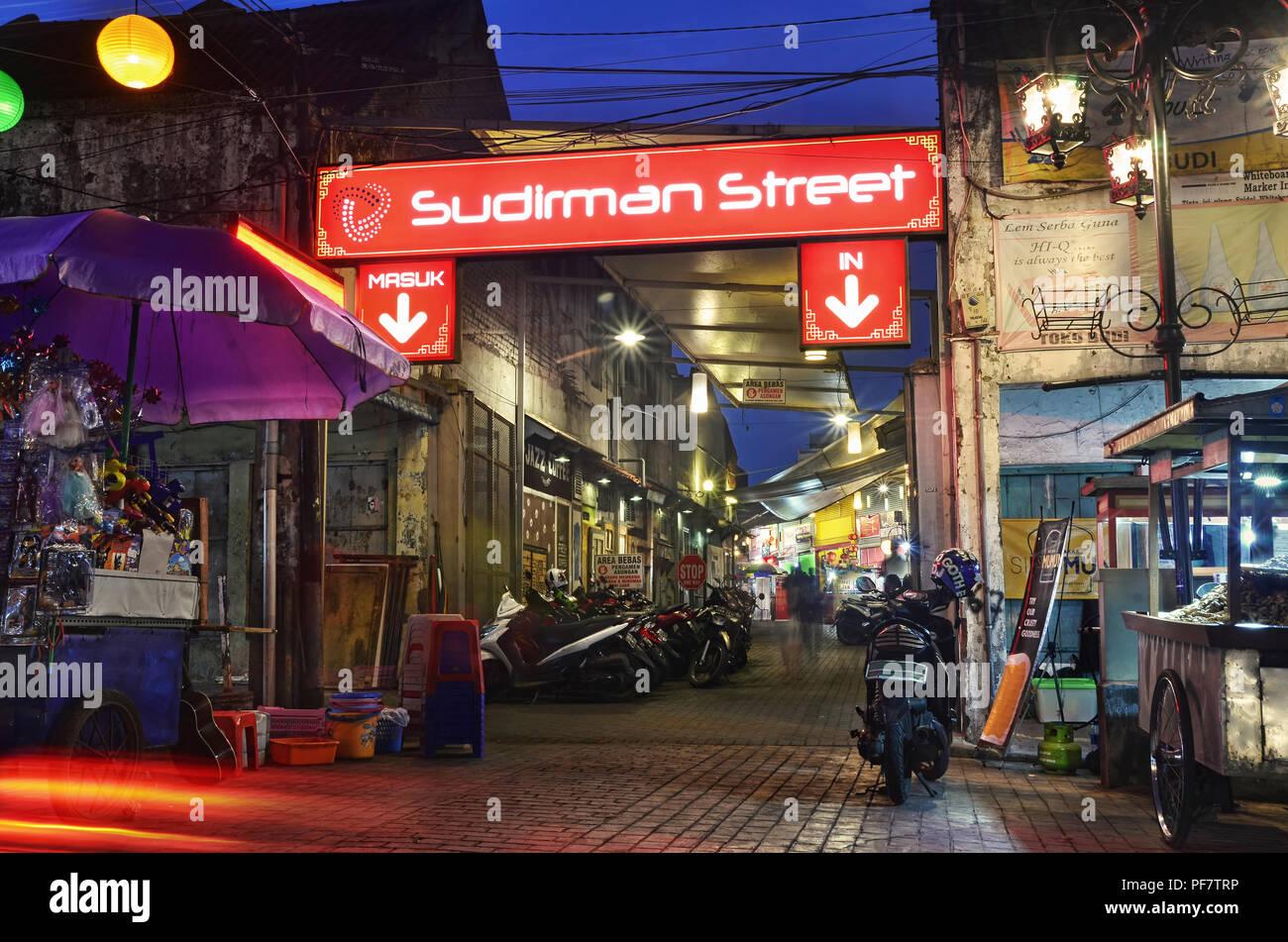 Sudirman Street, a culinary street/area in Bandung Stock Photo
