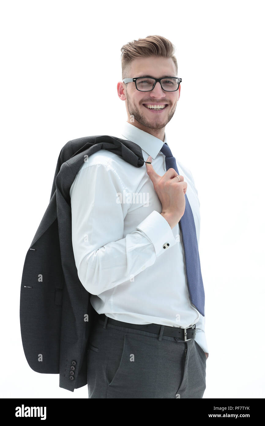 confident businessman holding a jacket over his shoulde Stock Photo