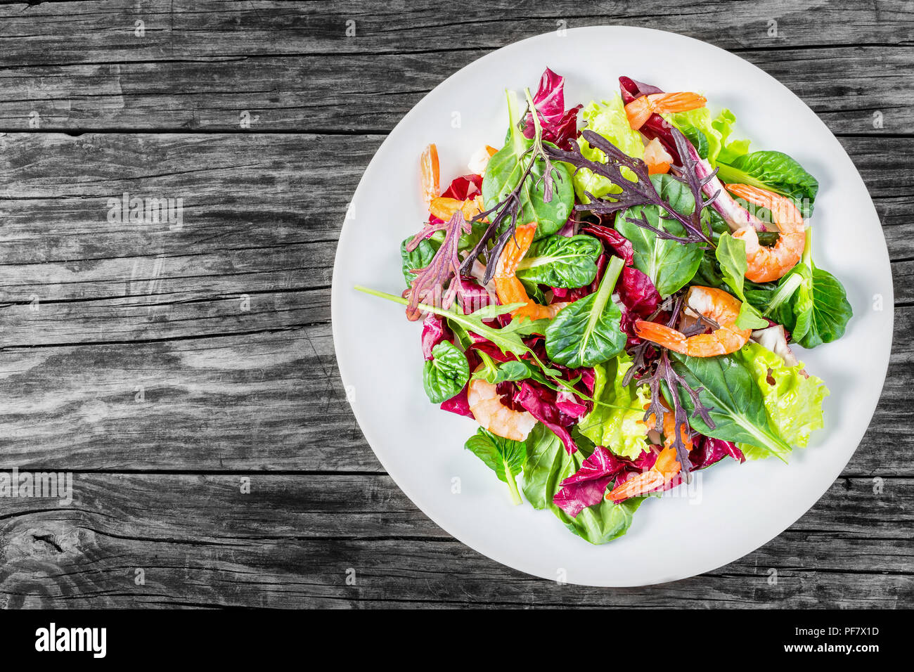 fresh salad of prawns and mixed lettuce leaves, top view Stock Photo
