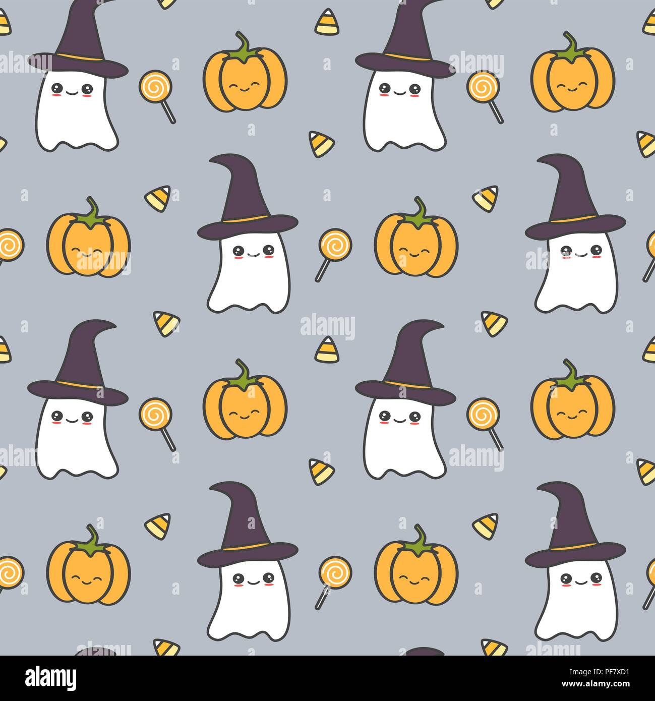 Cute Halloween Backgrounds.Cute Halloween Seamless Vector Pattern Background Illustration With Ghost Pumpkin And Candies Stock Vector Image Art Alamy