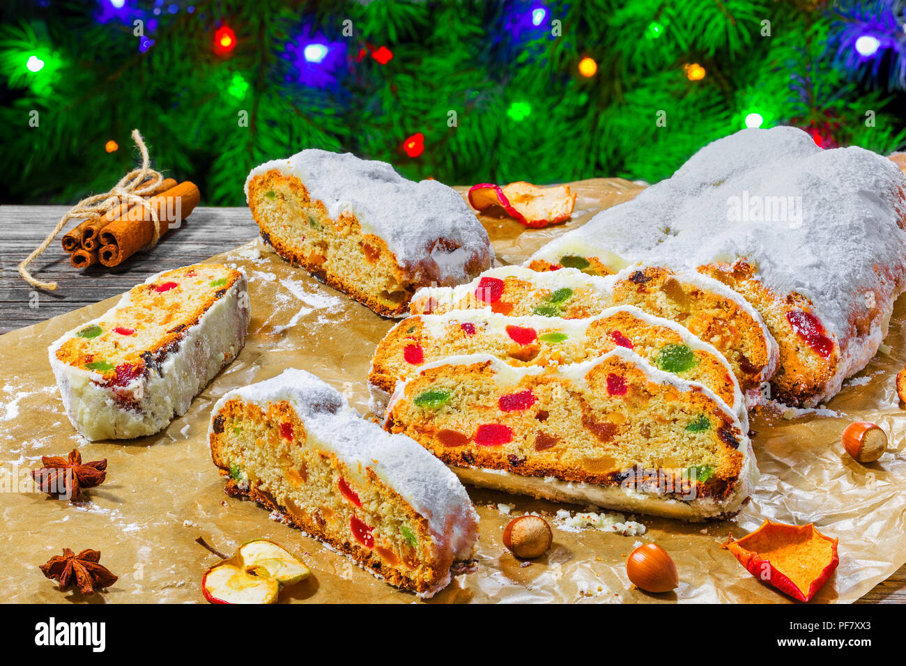 Christmas Stollen, traditional german christmas cake with dried fruits, nuts - Stock Image