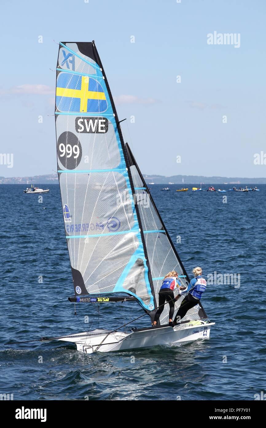 Aarhus, Denmark - August 9, 2018: Swedish 49er fx sailing ship during the sailing world championship 2018 in Aarhus, Denmark - Stock Image