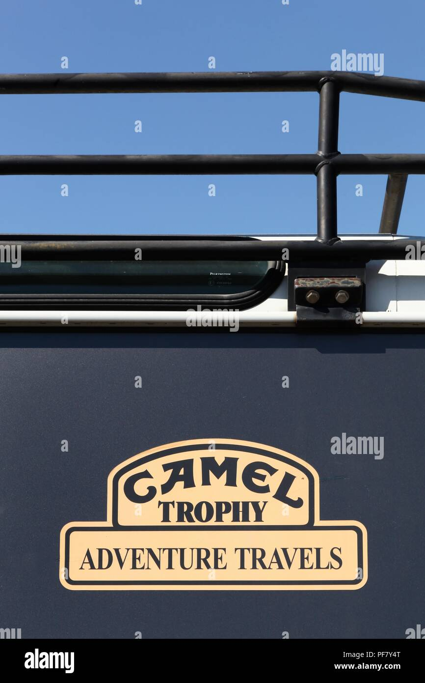 Belleville, France - July 16, 2018: Camel Trophy logo on a Land Rover car. The Camel Trophy was a vehicle-oriented competition - Stock Image