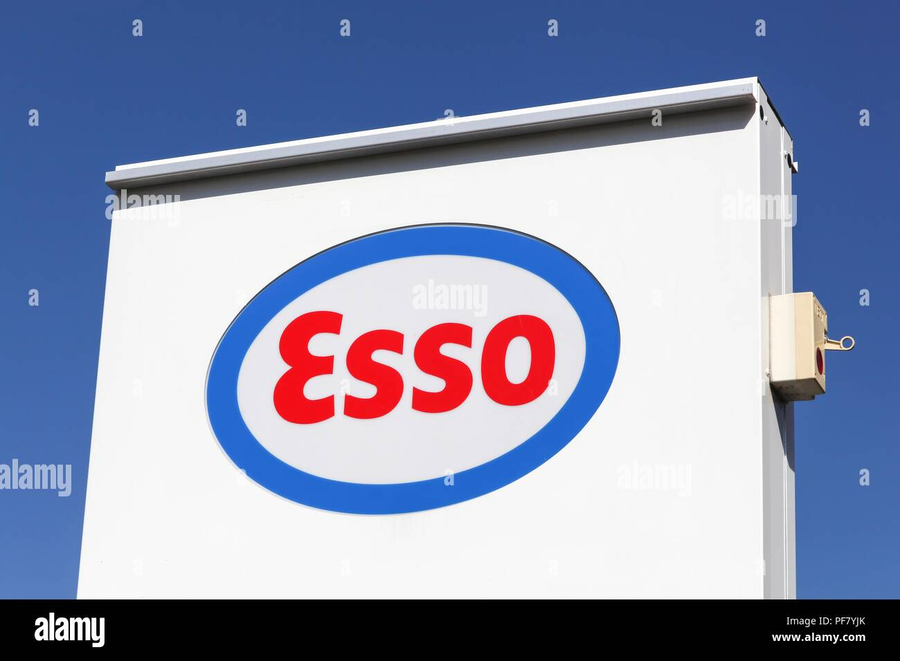 Saint Laurent, France - May 24, 2018: Esso logo on a panel. Esso is an international trade name for ExxonMobil - Stock Image