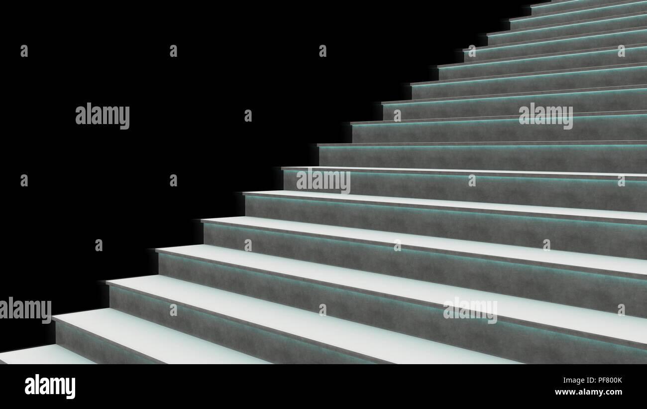 3d Rendering, Steps,going up, 3d Steps, Edge lit,Concrete Steps - Stock Image