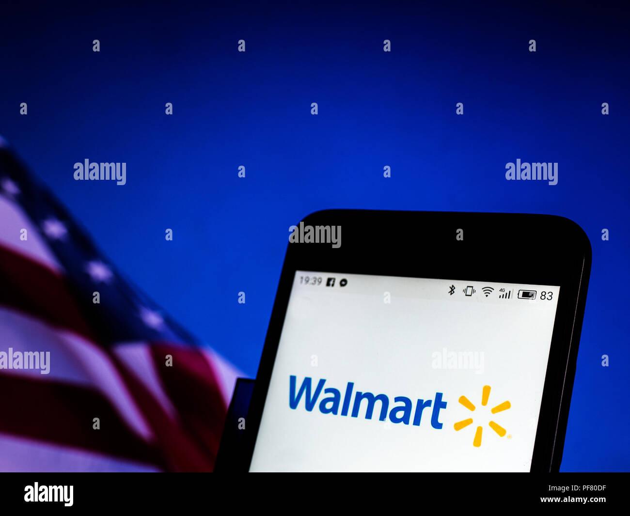 Walmart Stock Phone Number >> Walmart Company Logo Seen Displayed On A Smart Phone Stock