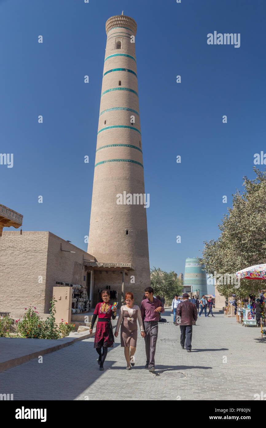 Itchan Kala, walled inner town of Khiva, in Khorezm Province, Uzbekistan, Silk Road, Central Asia Stock Photo