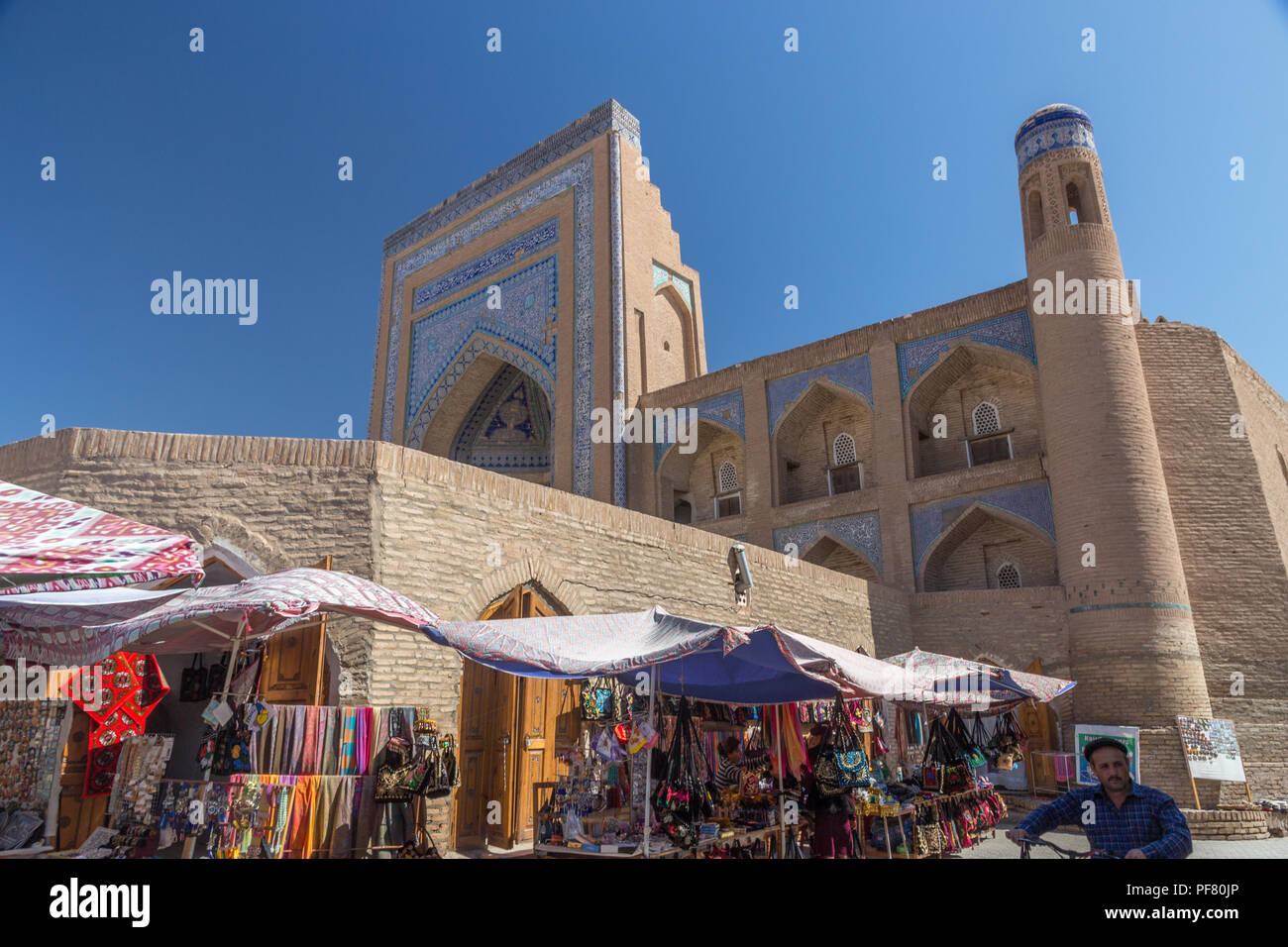 Itchan Kala, walled inner town of Khiva, in Khorezm Province, Uzbekistan, Silk Road, Central Asia - Stock Image