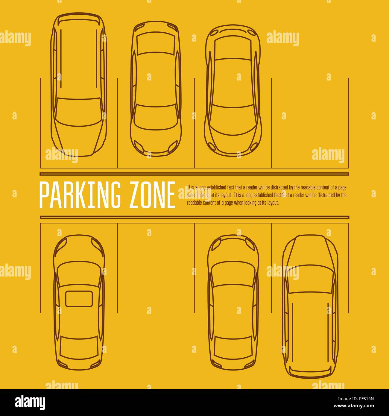 Car parking lot - top view of cars in park zone - Stock Vector