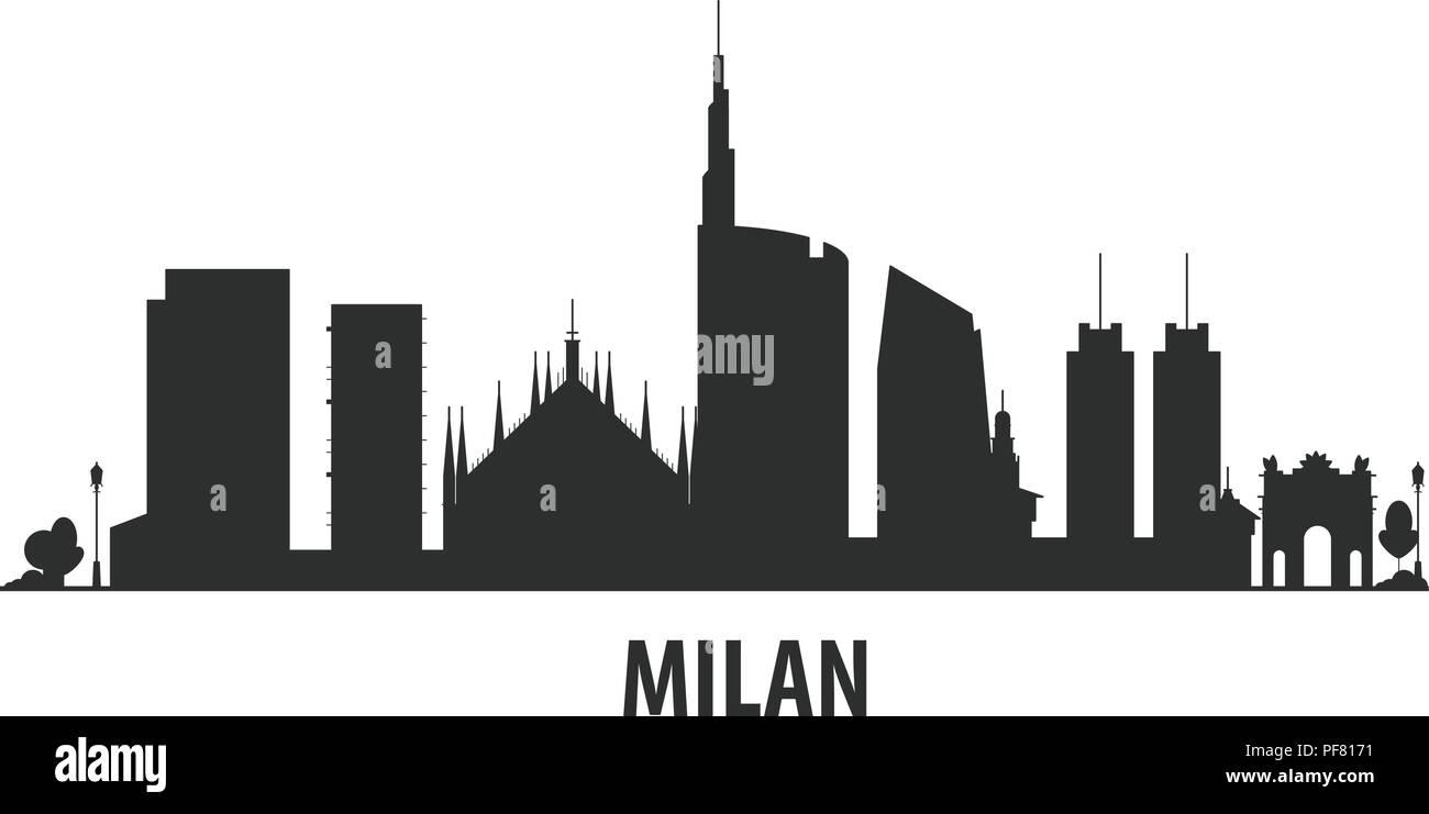Milan city skyline - cityscape silhouette with landmarks - Stock Vector