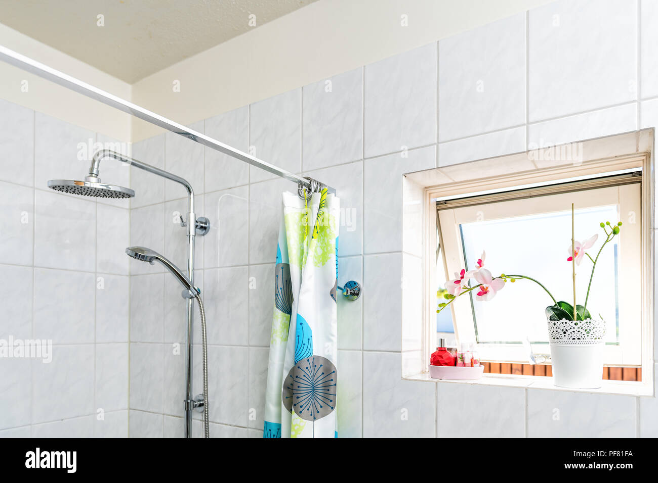 Modern tiles, tiled bathroom, shower, heads, tension rod with rings ...