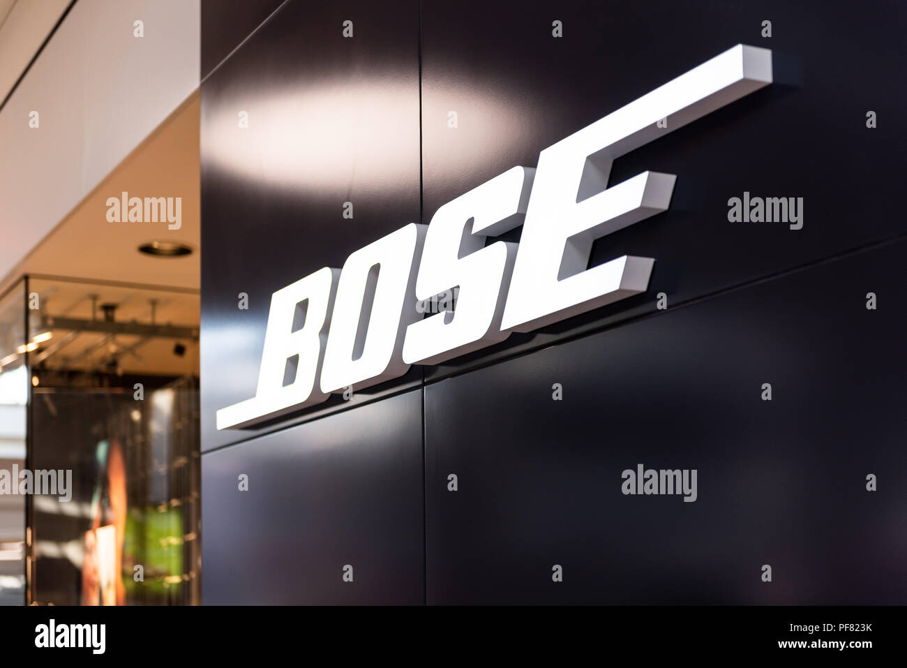 Tysons Corner, USA - January 26, 2018: Bose headphones store, shop, facade, storefront, door entrance with nobody in shopping mall in Virginia - Stock Image