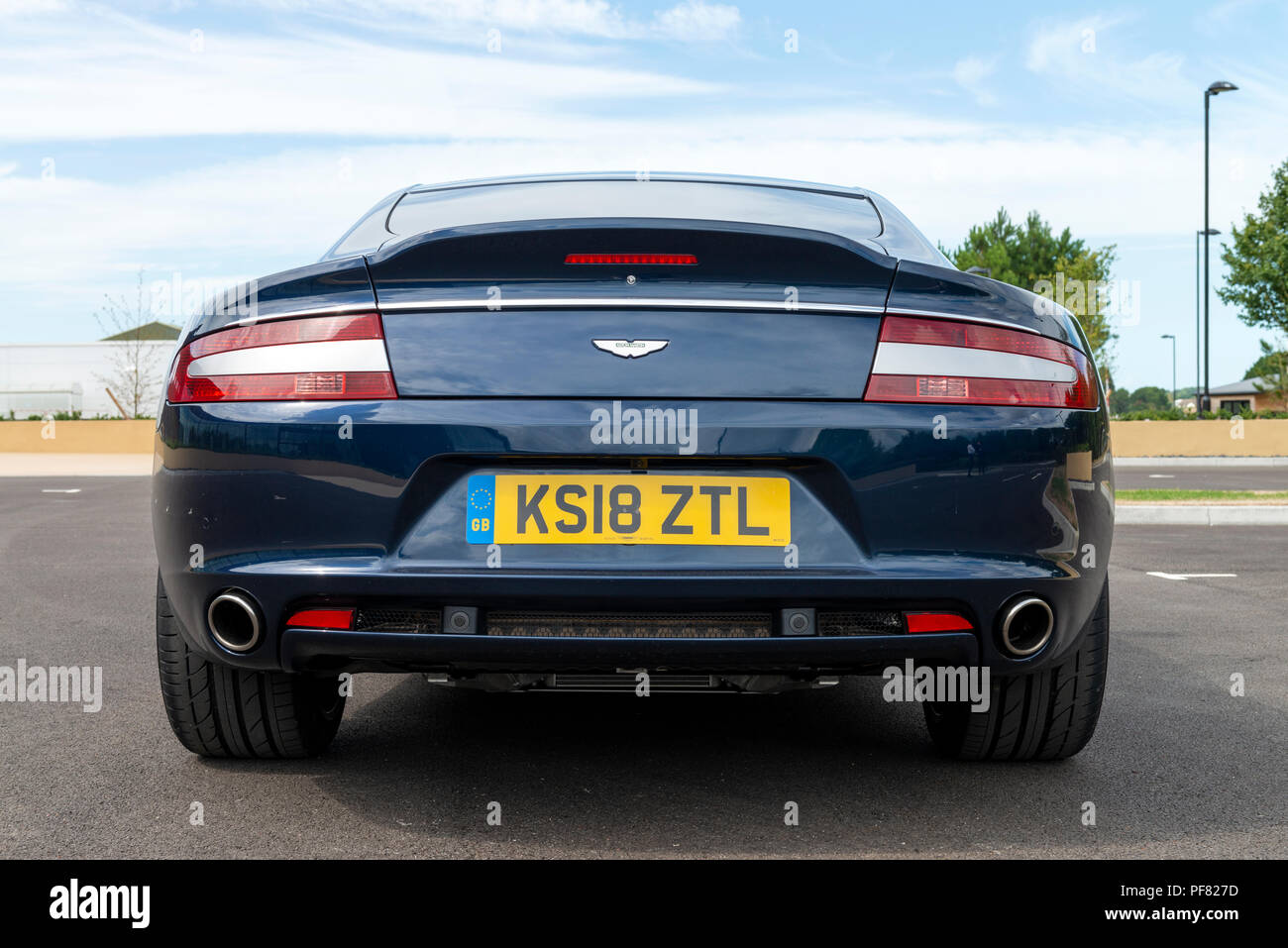 An Aston Martin Rapide S four door sports saloon car photographed at Aston Martin's new production facility at St Athan in The Vale of Glamorgan. - Stock Image