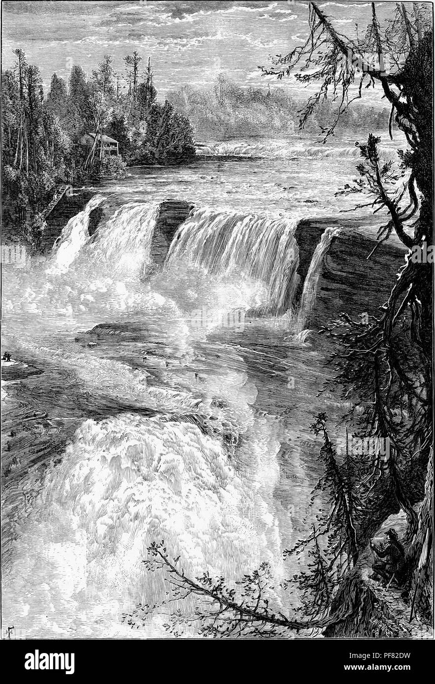 Black and white vintage print depicting a man crouched on a ledge in the foreground, looking over a panoramic view from the east bank of Trenton Falls, a waterfall located on West Canada Creek in Trenton, New York, USA, published in William Cullen Bryant's edited volume 'Picturesque America; or, The Land We Live In', 1872. Courtesy Internet Archive. () Stock Photo