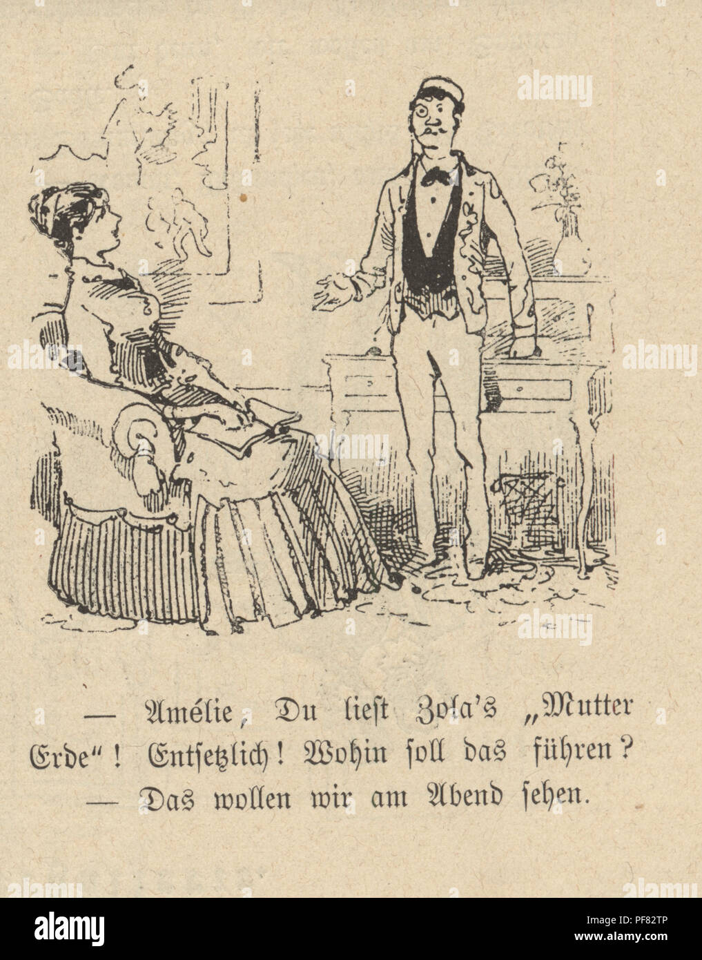 Vintage engraving of a Cartoon of a young couple at home, 1880s, German Stock Photo