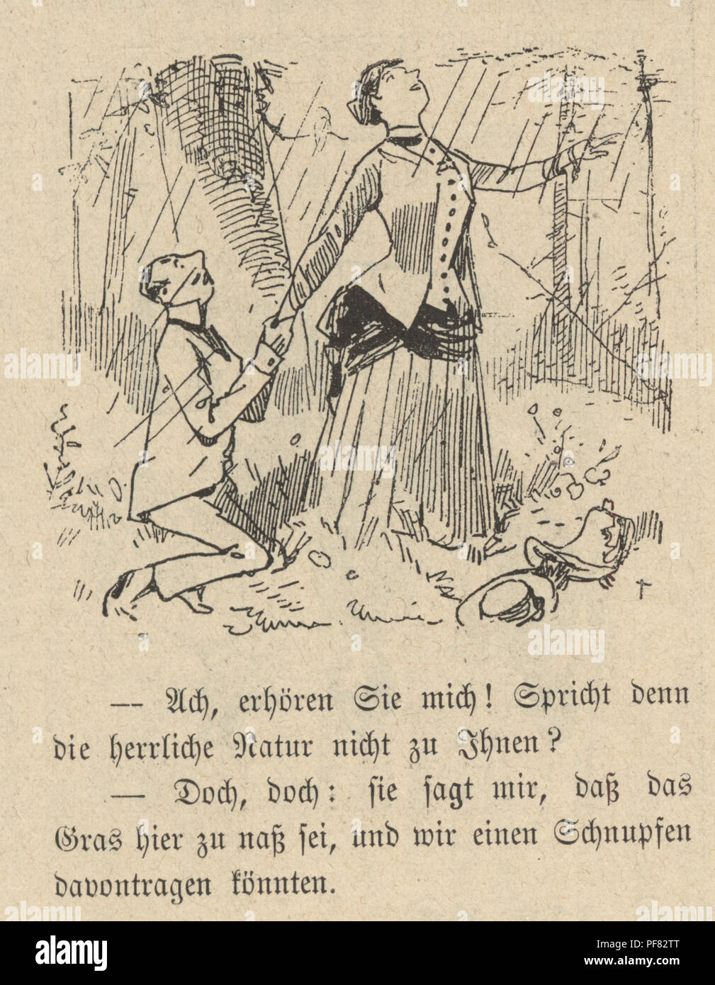 Vintage engraving of a Cartoon of a young couple with man on his knees, 1880s, German Stock Photo