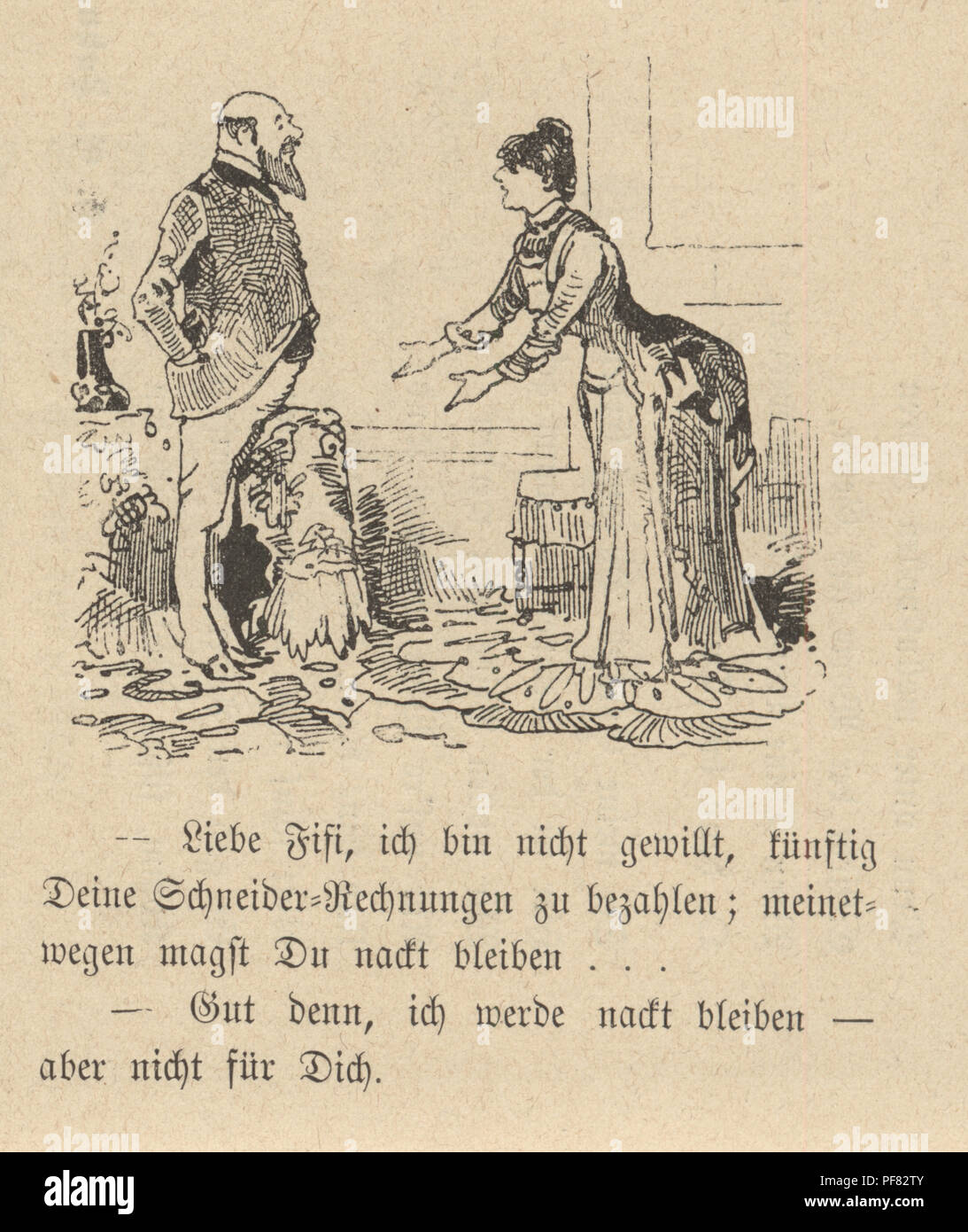 Vintage engraving of a Cartoon of a couple arguing at home, 1880s, German Stock Photo