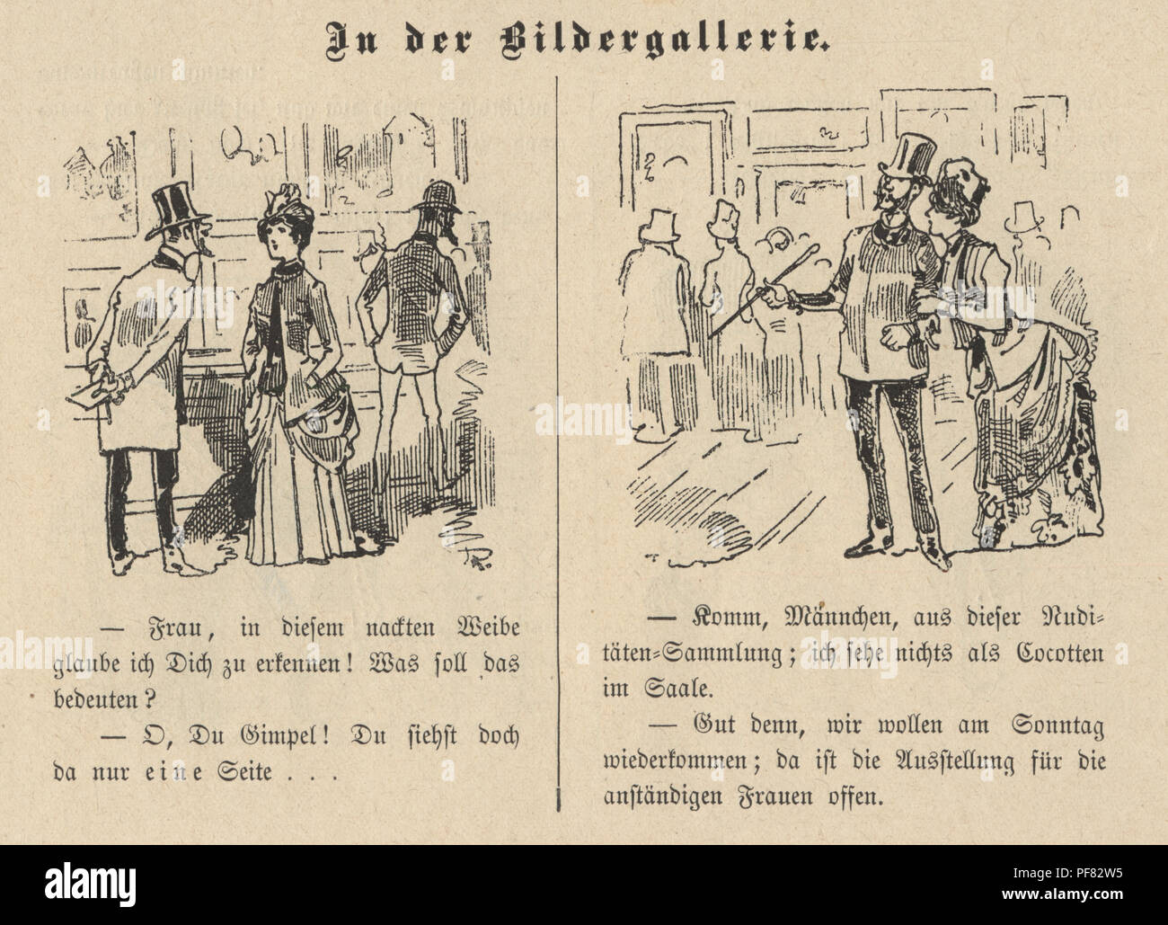 Vintage engraving of Victorian cartoon of a couple visiting the Art Gallery, 1880s, German Stock Photo