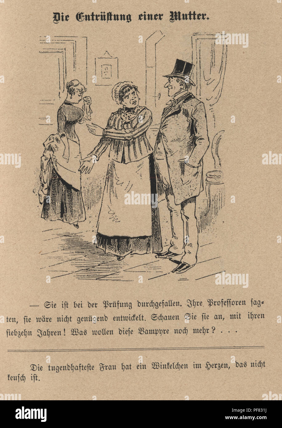 Vintage engraving of a Victorian Cartoon of The indignation of a mother, 1880s, German Stock Photo
