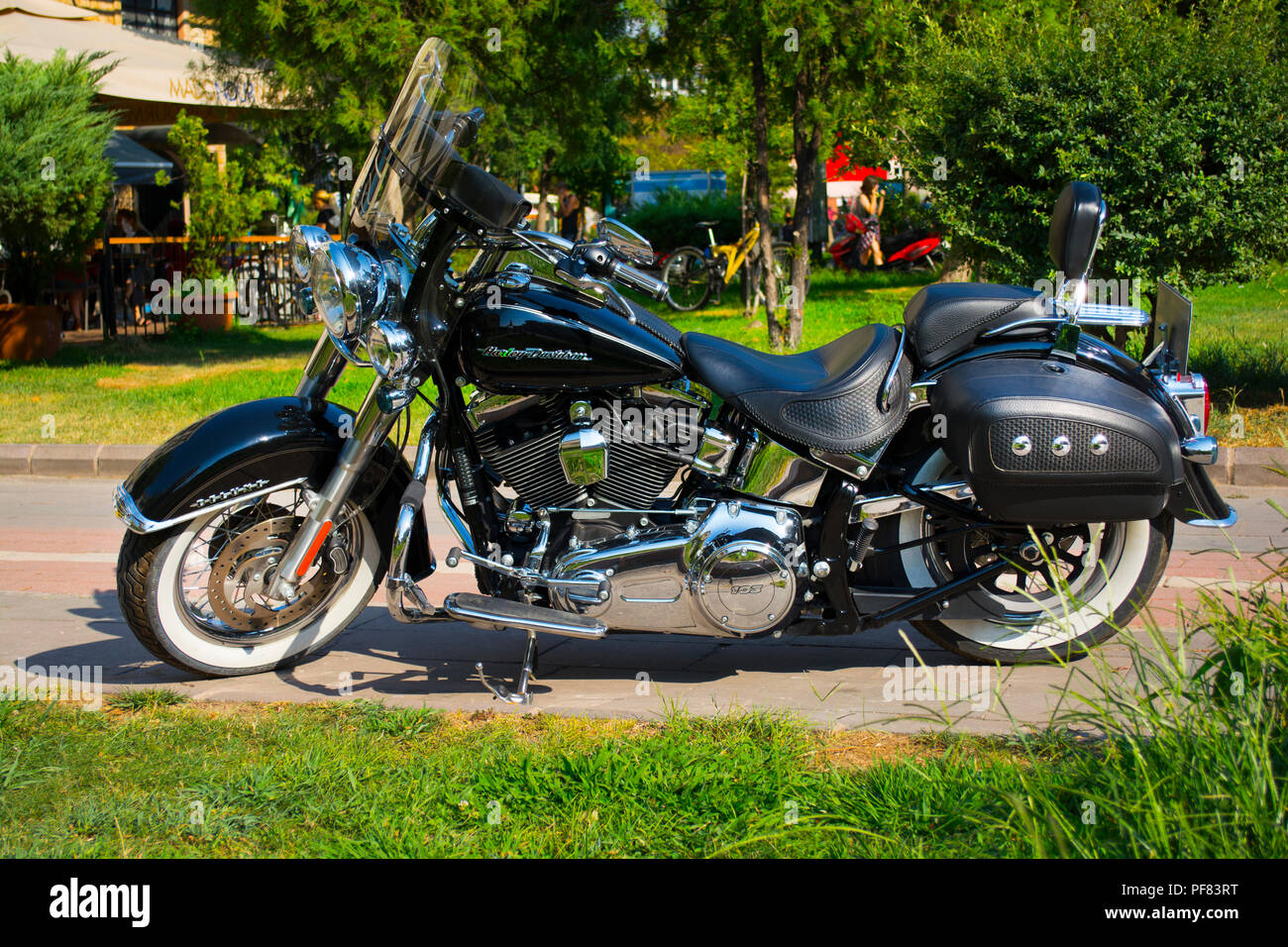 American Style Motorcycle Stock Photos 1983 Honda Shadow Bagger Istanbul Turkey August 08 2018 Brand New Light Black With Street
