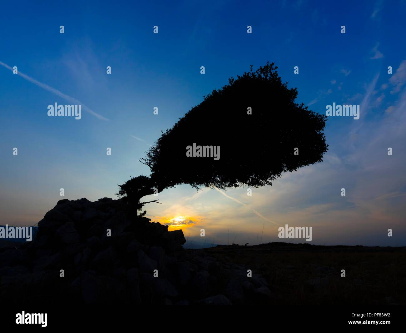 Island Pag in Croatia near Vlasici early morning sunrise - Stock Image
