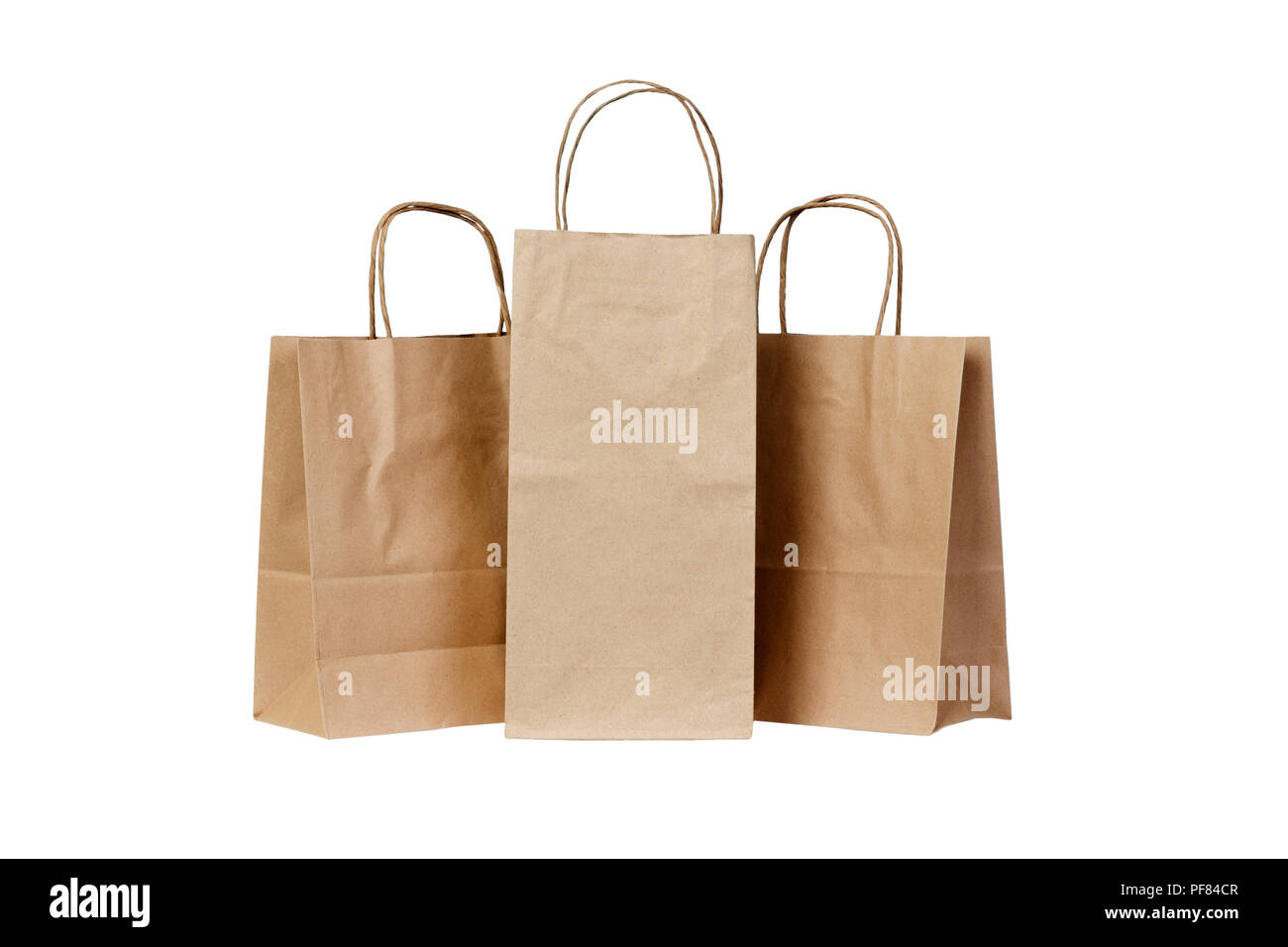 Recyclable paper bags isolated on white background. - Stock Image