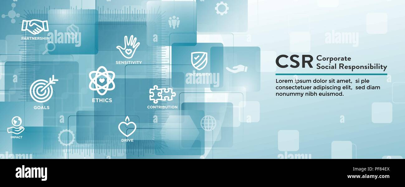 CSR-Social Responsibility Web Banner Icon Set & Web Header Banner w Honesty, integrity, collaboration, etc - Stock Vector