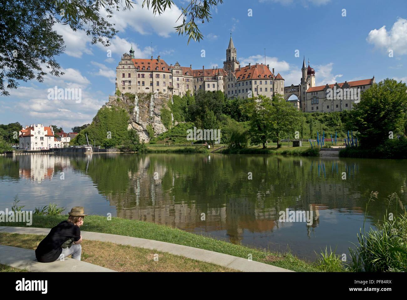 castle and River Danube, Sigmaringen, Baden-Wuerttemberg, Germany - Stock Image