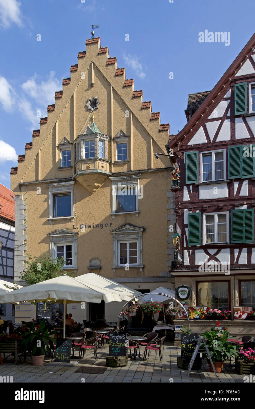 house with gable in the old town, Sigmaringen, Baden-Wuerttemberg, Germany - Stock Image