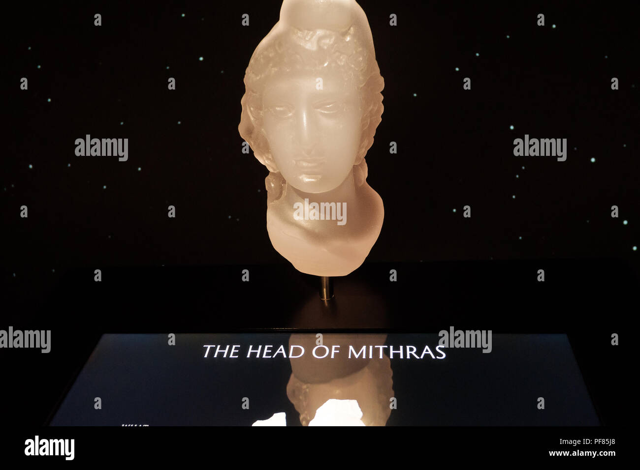 Reconstructed Head of Mithras wearing a Phrygian Cap, based on that found in the Temple at the London Mithraeum, City of London. - Stock Image