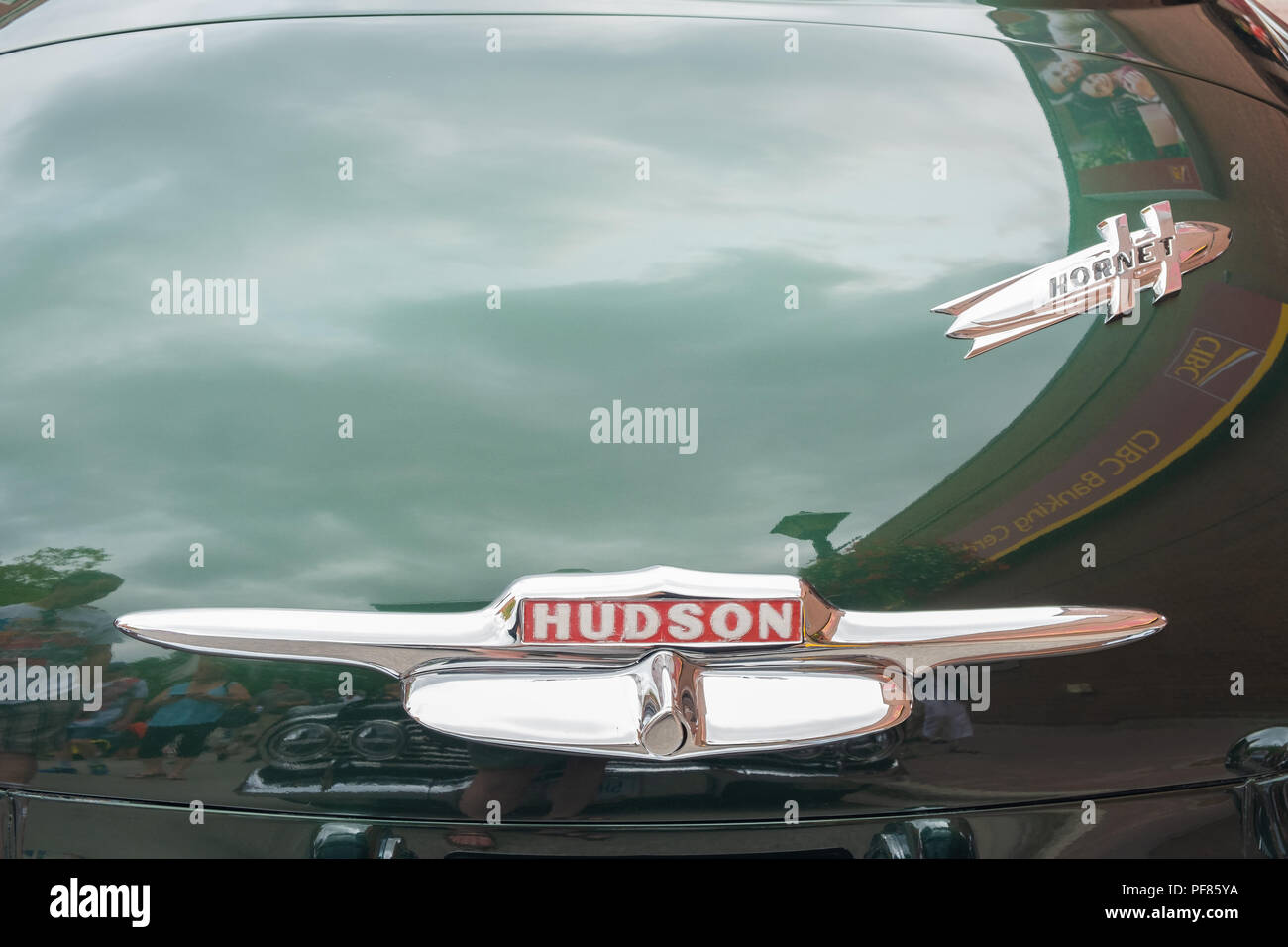 Closeup of the nameplates from a 1951 Hudson Hornet on the trunk of the vehicle. - Stock Image
